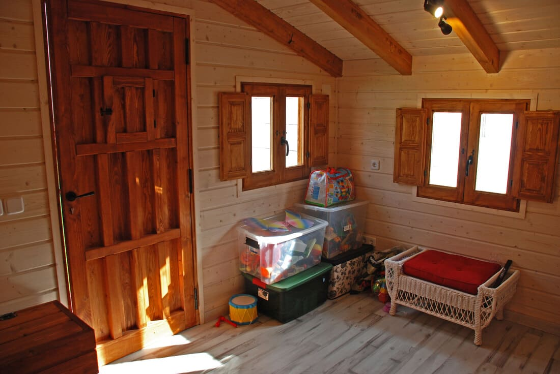 Interior caseta madera habitable 11.5m2 Caseta Living
