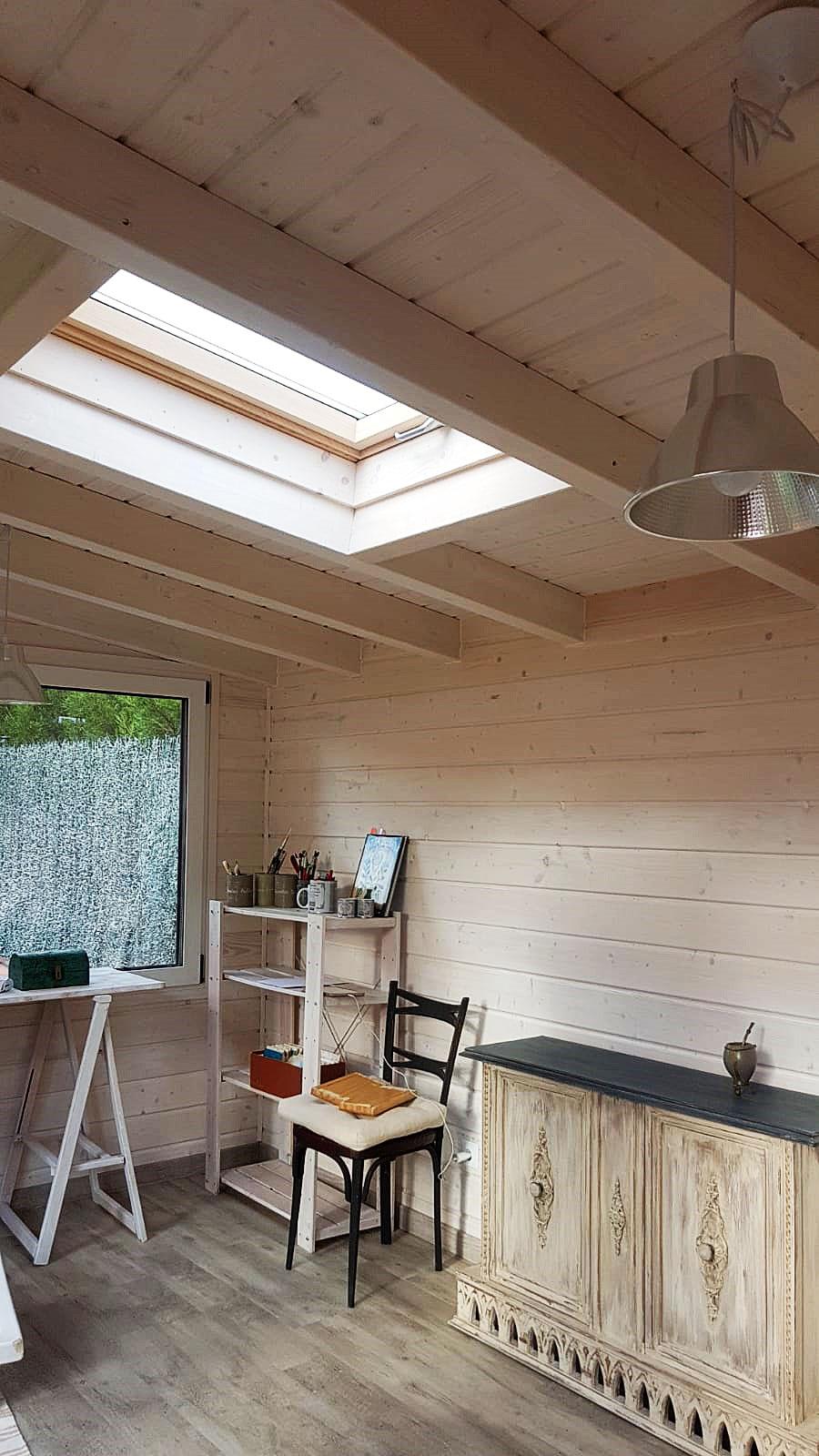Interior caseta madera habitable 14.25m2 Caseta Living