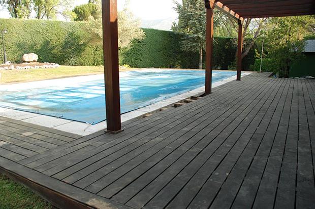 Tarima antes de mantenimiento madera exterior Caseta Living